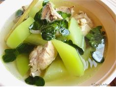 Tinola recipe - Filipino ginger chicken soup with chayote, lemongrass and malunggay leaves. A delicious healing soup!