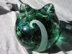 Green Clear Solid Cat by GlassCatsStudios on Etsy