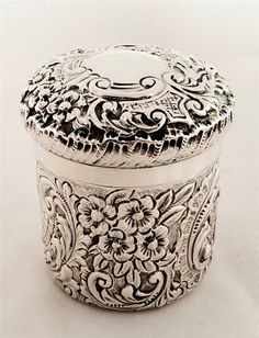 Antique silver vanity pot London 1896