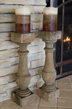 Set of Two 1800's Spindle Candle Holders