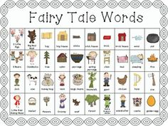 Fairy Tales - Writing Words for Centers Traditional Literature, Traditional Tales, Readers Workshop, Writing Workshop, Fairy Tale Activities, Fractured Fairy Tales, Fairy Tales Unit, Fairy Tale Theme, 2nd Grade Writing