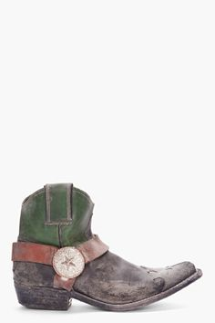 GOLDEN GOOSE Short Green Buckled Cowboy Boots