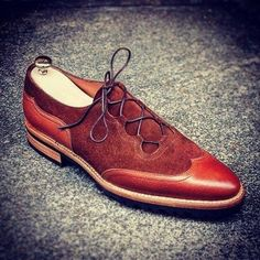 Pure+Handmade+Dark+Tan+Leather+&+Suede+Leather+Lace+up+Shoes+for+Men's Inner+Soft+Leather Style+Formal+Lace+Up+Dress+Shoes Color+Dark+Tan Sole+Leather Gender+Male+ Heel+Leather+ ++++++++++++++IMPORTANT+NOTE +Please+measure+your+foot+size+acco. Suede Leather Shoes, Leather And Lace, Soft Leather, Leather Fashion, Fashion Shoes, Mens Fashion, High Ankle Boots, Shoe Boots, Cap Toe Shoes