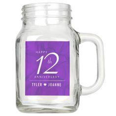 Elegant 12th Silk Wedding Anniversary Celebration Mason Jar - anniversary gifts ideas diy celebration cyo unique
