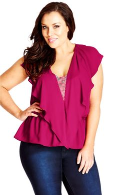 City Chic Embellished Flounce Top - Women's Plus Size Fashion City Chic - City Chic Your Leading Plus Size Fashion Destination #citychic #citychiconline #newarrivals #plussize #plusfashion