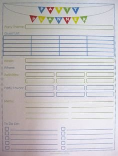 Party Planner! such a good idea just in case you forget something
