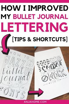 Learn how I improved my bullet journals lettering Discover some bullet journal fonts for your planners Bullet Journal Font, Journal Fonts, Bullet Journal Hacks, Bullet Journals, Journaling, Letter To Best Friend, Journal Writing Prompts, Hand Lettering Tutorial, Creative Journal