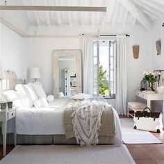 If you are looking for Farmhouse Master Bedroom Decor Ideas, You come to the right place. Below are the Farmhouse Master Bedroom Decor Ideas. Farmhouse Master Bedroom, White Bedroom, Serene Bedroom, Calm Bedroom, Pretty Bedroom, White Bedding, Bedroom Bed, Airy Bedroom, Dream Bedroom