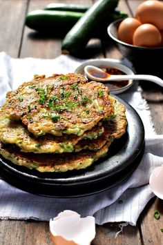 Chinese Zucchini Pancakes - delicately flavoured with a touch of five spice, these zucchini pancakes are easy to make and are something different to start your day. These are also great as a starter!
