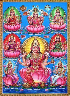 Ashta Lakshmi - The 8 Faces / Forms Of Goddess Lakshmi Lakshmi Images, Lakshmi Photos, Lord Shiva Family, Lord Vishnu Wallpapers, Hindu Dharma, Lord Murugan, Shiva Shakti, Goddess Lakshmi, Lord Ganesha