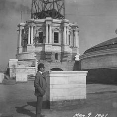 Cass Gilbert standing before the partially completed State Capitol dome, 1901. Photograph: Minnesota Historical Society.