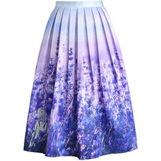 Chicwish Endless Lavender Romance Pleated Midi Skirt ($48) ❤ liked on Polyvore featuring skirts, bottoms, saias, юбки, multi, calf length skirts, purple midi skirt, flower skirt, rose skirt and midi skirt