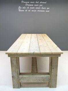 NIEUW Kloostertafel van steigerhout (oud steigerhout) (252013KLTO) | Tafels van steigerhout | JORG`S Houten Meubelen