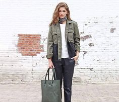 DECADENT Plain Leather Tote in Army.