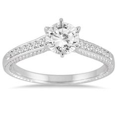 1.00ct D/VVS1 Round Diamond Solitaire W/ Accents 14k White Gold Engagement Ring #Jewelsbyeanda