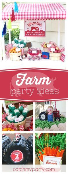 Plow On Over to this fun Farm Birthday. The market stall dessert table is awesome!! See more party ideas and share yours at CatchMyParty.com #birthdayparty #farm
