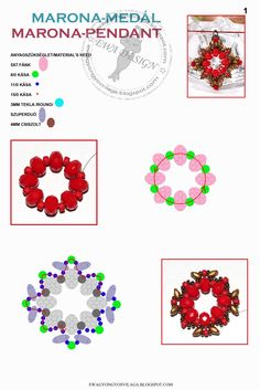 MARONA Pendant FREE Pattern by Ewa. Page 1 of 3. Use: rondelle beads 5x7mm, seed beads 8/0, 11/0 and 15/0, round beads 3mm, SuperDuos beads , faceted beads 4mm.