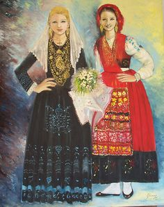 'Bride and Mordoma' by Isaura Xavier. Two Minho girls , one in a wedding dress, the other in a single girl red dress. Traditional Dresses, Traditional Wedding, Minho, Folk Costume, Costumes, Portuguese Wedding, Contemporary Decorative Art, Portuguese Culture, Religious Images