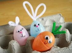Cute Easter Egg ideas for leftover party pooper eggs OR decorate before the hunt & make it all the more fun...like the golden carrot prize egg? :)