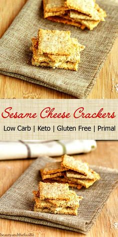 Sesame Cheese Crackers Low Carb- grain free, keto, and gluten free. Super tasty crisp crackers.