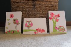 Children's Room Canvas Art, Nursery decor,  set of 3, 5 x 7, bird, owl, turtle, cute as a button, pink and lime green on Etsy, $40.00