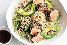 Sesame-crusted salmon and soba noodle salad