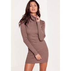 Missguided Purple Knitted Roll Neck Mini Jumper Dress ($40) ❤ liked on Polyvore featuring dresses, mauve, roll neck dress, purple dresses, sweater dress, brown dress and brown sweater dress