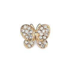 Rhinestone Butterfly Lapel Pin Brooch Gold