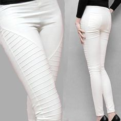 Find More Pants & Capris Information about New 2014 Women Fold Pencil Pants Fashion Skinny Pants White Slim Fit Trousers Plus size Elastic Female Pants XXL,High Quality pants cycling,China pants brand Suppliers, Cheap pants black from Ali Dream on Aliexpress.com
