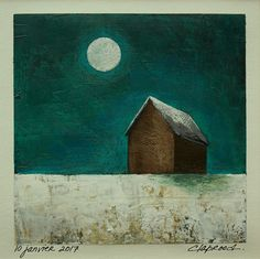 6x6 original art daily painting barn and full by MarieClaproodArt