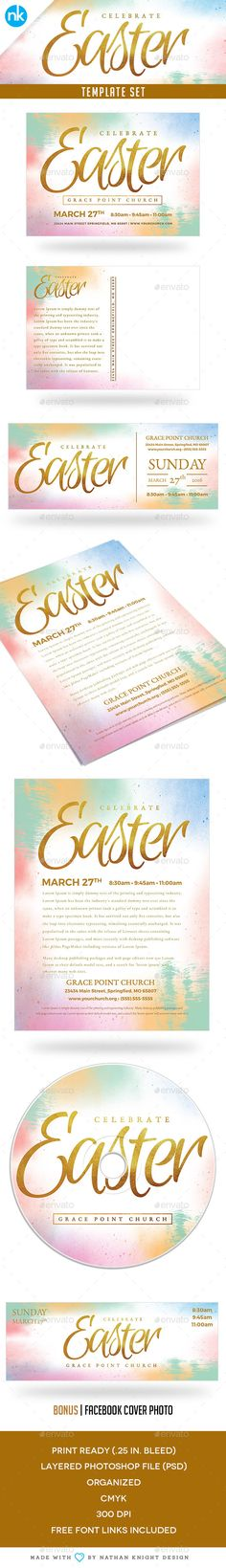 Easter Sunday Church Template Set - Celebrate,celebrate, church, cross, dvd, easter, flyer, friday, gold foil, good, Good Friday, jesus, lent, light, modern, postcard, postcard design, poster, psd, resurrection, salvation, sermon, sunday, template, temple, tomb