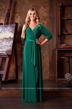 formal evening dress, Green Maxi Dress, long evening dress plus size, bat sleeves, Bridesmaids Dress, Evening Gowns, Special occasion dress