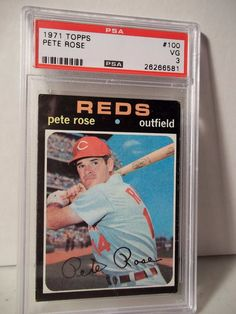1971 Topps Pete Rose PSA Graded VG 3 Baseball Card #100 MLB Collectible #CincinnatiReds