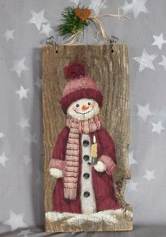 Snow Cutie authentic barnwood hand painted 5 1/2 by SuzysSantasetc