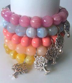 Tree of Life Gemstone Bracelet and wood Beaded Bracelet by KiKiJabriJewels, $15.00