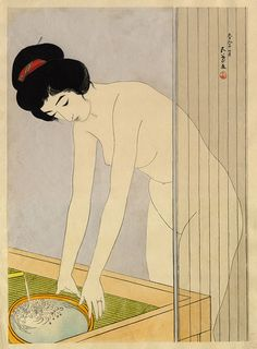 For the largest collection of century Japanese woodblock prints and East Asian contemporary art, including Woman Washing Her Face by Goyo, visit Ronin Gallery in NYC today! Japanese Drawings, Japanese Prints, Art Occidental, Exotic Art, Art Japonais, Japanese Painting, Art Moderne, Japan Art, Illustrations