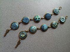 Blue AB Czech button bracelets
