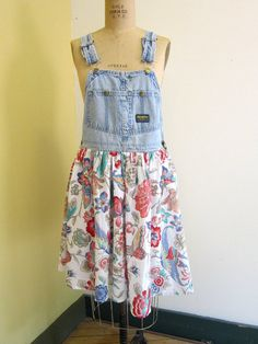 Custom Made To Order Harry and the Hippie Chic Recycled Denim Overalls Gypsy Floral Dress