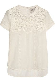 SEA Lace-paneled broderie anglaise cotton top | NET-A-PORTER