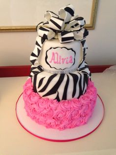 Glam Baby Shower Cake, zebra stripes and pink rosettes, by Amy Hart