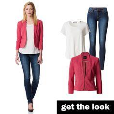 Piqué-Blazer mit weißem T-Shirt und Slim Fit Jeans von zero! #getthelook #zerofashion #outfit #ootd