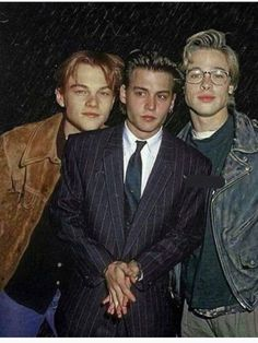 Hot young actors: Johnny Depp, Brad Pitt and Leonardo DiCaprio Hot young actors: Johnny Depp, Brad Pitt and Leonardo DiCaprio