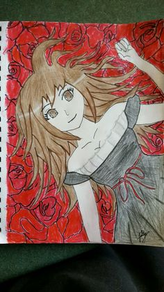 Anime girl in field of roses (this is my design please don't steal it, the anime girl is supposed to be me by the way and this drawing is also on my deviantart, username is bellarenee8)