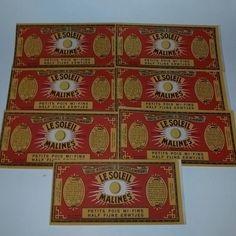 7 Vintage advertising can label lot color paper ephemera NOS art scrapbook mixed media supplies