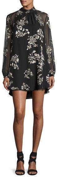 Haute Hippie The Mentor Floral Mini Dress, Black