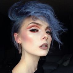 Blue dyed short hairstyle - http://ninjacosmico.com/28-crazy-hairstyles-ideas/