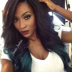 BeautyByJJ Jennie Jenkins Flawless Makeup Hair Hairstyle On Fleek Black And Teal Blue Green Mermaid Ombre Dip Dye Kylie Jenner Inspired Wavy Curly Side Parting Part Beautiful Black Women Beauty African American British Makeup Artist Youtube Guru Youtuber Successful Business Hot Sexy