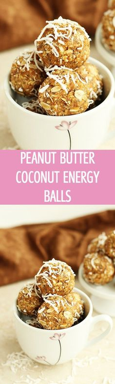 Peanut Butter Coconut Energy Balls - Healthy energy balls recipe made with peanut butter, coconut flakes, dates and chia seeds. These mini bites are perfect for breakfast or snack. Vegan, vegetarian by http://ilonaspassion.com I /ilonaspassion/