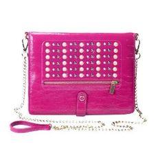 Designer Tyla Rae Leather & Studded Ipad Case/Folder/Purse w/Cross Body Chain by Jersey Bling