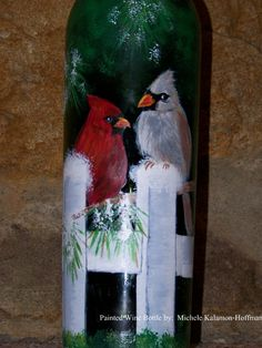Hand Painted Wine Bottle - Cardinals in Winter Wine Bottle Glasses, Wine Bottle Art, Painted Wine Bottles, Lighted Wine Bottles, Painted Jars, Diy Bottle, Painted Wine Glasses, Bottle Lights, Wine Bottle Crafts